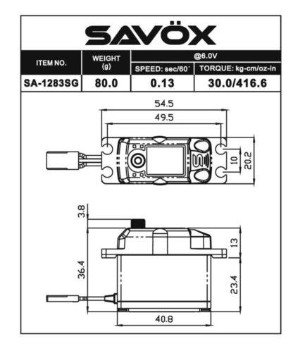 SA1283SG - Coreless Metal Case Digital Servo .13/416 @6V