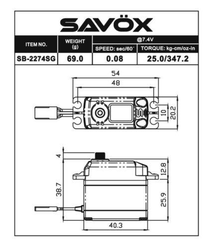 SB2274SG - High Voltage Brushless Digital Servo 0.080/347.2 @ 7.4V