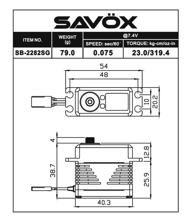 SB2282SG - High Voltage Brushless Digital Servo 0.075/319.4 @ 7.4V
